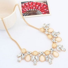Rhinestone Necklace Female Autumn Fashion Jewelry Colored Resin Bib Simple Geometric Metal Pendant Flowers Statement Necklace (China (Mainland))