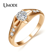 UMODE 18K Rose Gold Plated Mounting 0.5 ct Zirconia Diamond Engagement Jewelry Rings JR0064A(China (Mainland))