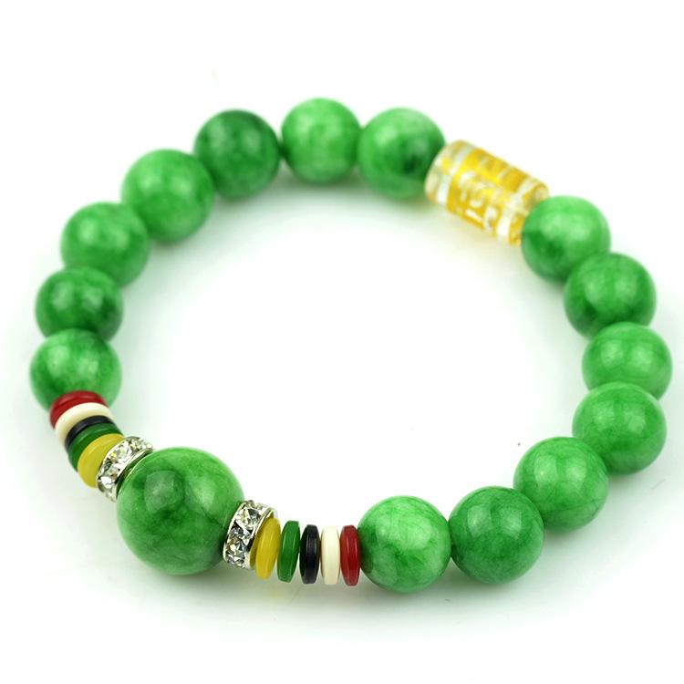Unique Women Lucky Nature Green Jade Bracelet 10mm Beads Stone Bangle bangles Rhinestone Charms Buddha Bangles(China (Mainland))