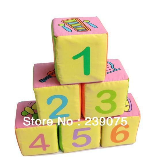 Baby toys, colorful magic block,enlighten train cloth block ,early childhood educational building blocks,6pcs/set(China (Mainland))