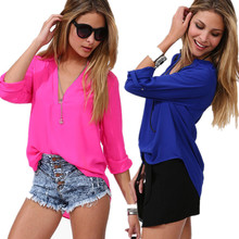 2015 new European and American V-neck women's blouses chiffon long sleeve v-neck shirt for ladies with plus size: M-6XL