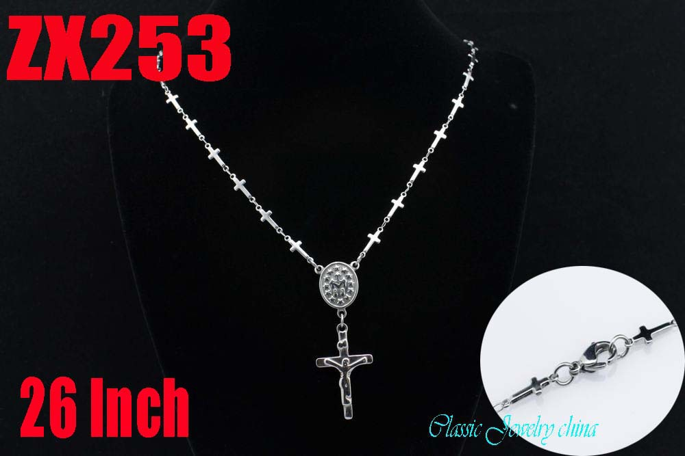 Wholesale - 26Inch 316L stainless steel Jesus cross set of chain religious Jewelry man male necklace chains ZX253<br><br>Aliexpress