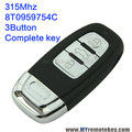 A4 A6 Q5 smart remote car key 8T0959754C 315Mhz 3button for Audi inlcude key isert