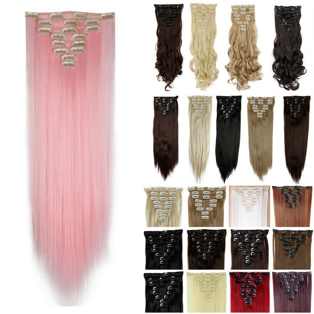 """UK US POST Many Vogue Colors for Choice 26"""" 66cm 8pcs Full Head Hairpiece Cosplay Fashion Long Straight Clip in Hair Extensions(China (Mainland))"""