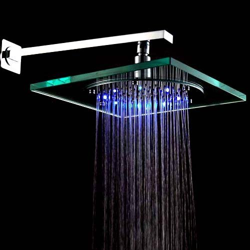 8 Inch Wall Mount Square Rainfall Showerhead Build-in LED Light, Glass Chrome Finish