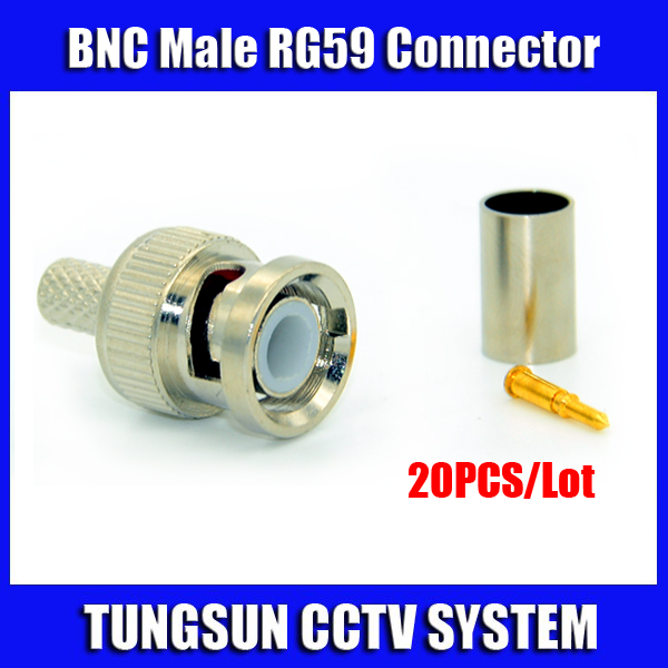 Freeshipping 20pcs/lot BNC Male Crimp plug for RG59 Coaxial Cable RG59 BNC Connector BNC male 3-piece crimp connector plugs RG59(China (Mainland))