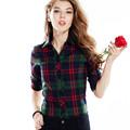 2015 New Fashion Women Blouse Spring Autumn Women Long Sleeve Flannel Shirt Single Tops Cotton Plaids