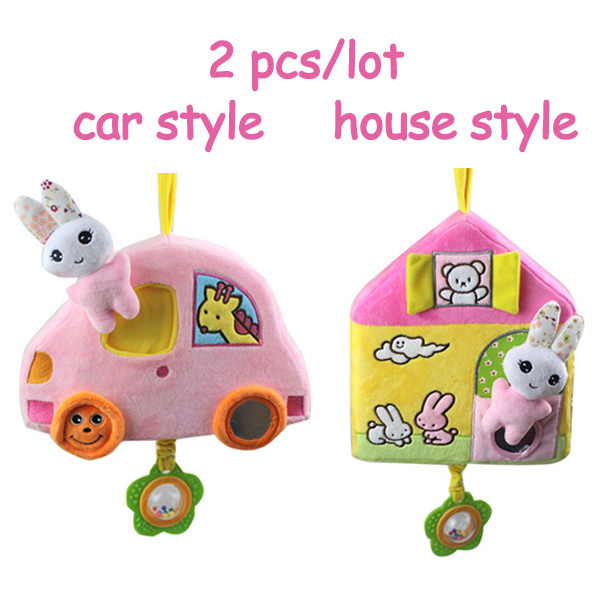 2 pcs/lot Kids baby girl cute toys rabbit baby Bell car & house shape infant ring the Bell baby rattles(China (Mainland))