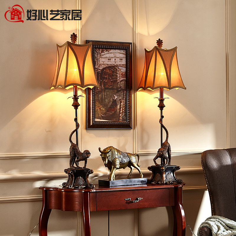 Hoshine New High Quality Decoration Monkey Bedside Table Lamps Home Bedroom Art Deco Lampada da Tavolo with Fabric Shade CCC CE(China (Mainland))