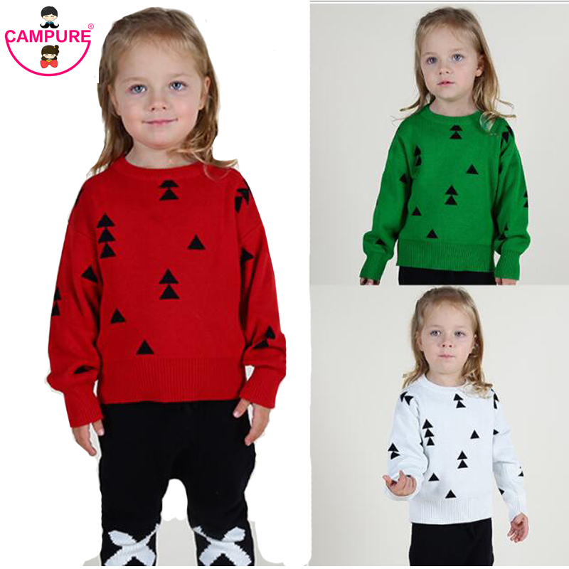 2015 Autumn Winter Girls Knitted Sweater Kids Cloud Triangle Pattern Sweater Jumper Boys Girls Baby Sweaters Pullovers Clothing(China (Mainland))