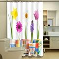 New 3D Shower Curtain Custom Cartoon Flower Moisture Mildew Thickening Waterproof Washable Shower Bathroom 12PCS C