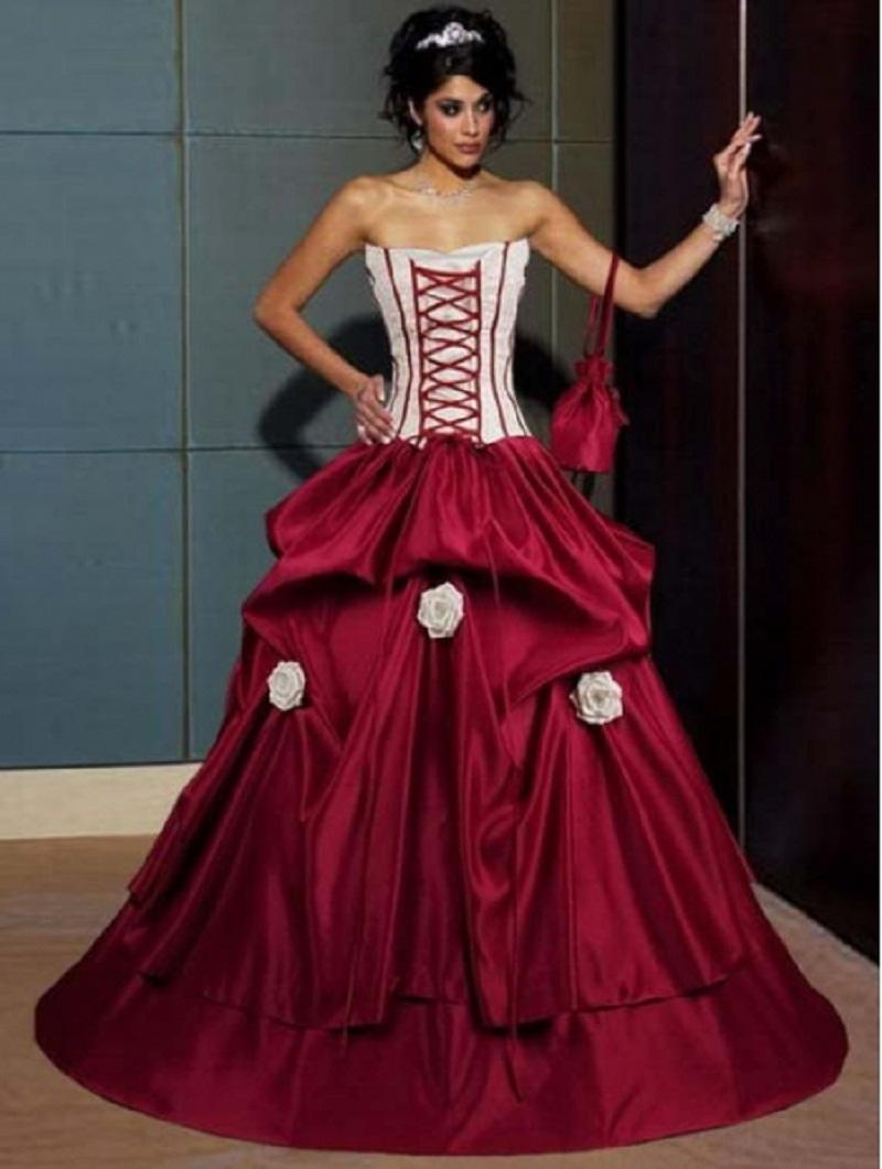 robe de mariée en Ligne à des Grossistes rouge gothique robe de ...