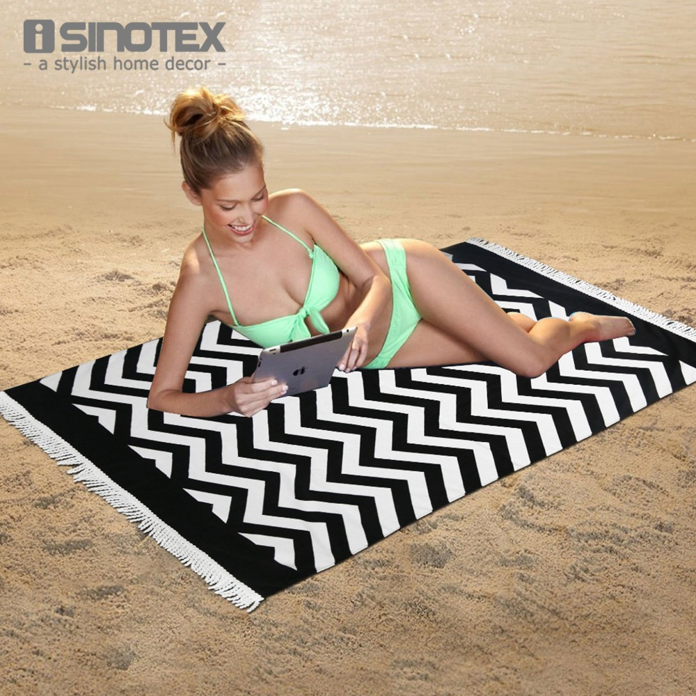 Bath Beach Towel 100% Cotton Wavy Striped Printed Patterns Tassel Decorations Swimming Drying Pool Towel 80x160cm/31.4x63inch(China (Mainland))