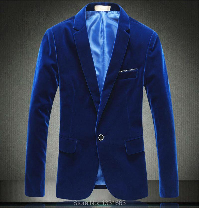 2015 Velvet Blazer Men Blue Red Masculino Party Terno Blaser Wedding Dress Black Brown Traje Hombre Blazer(China (Mainland))