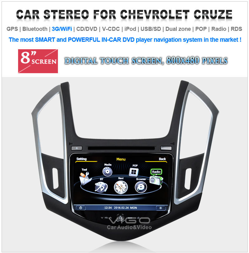 Car Stereo GPS Navigation for Chevrolet Cruze 2013 DVD Player Multimedia Headunit Sat Nav Autoradio Radio
