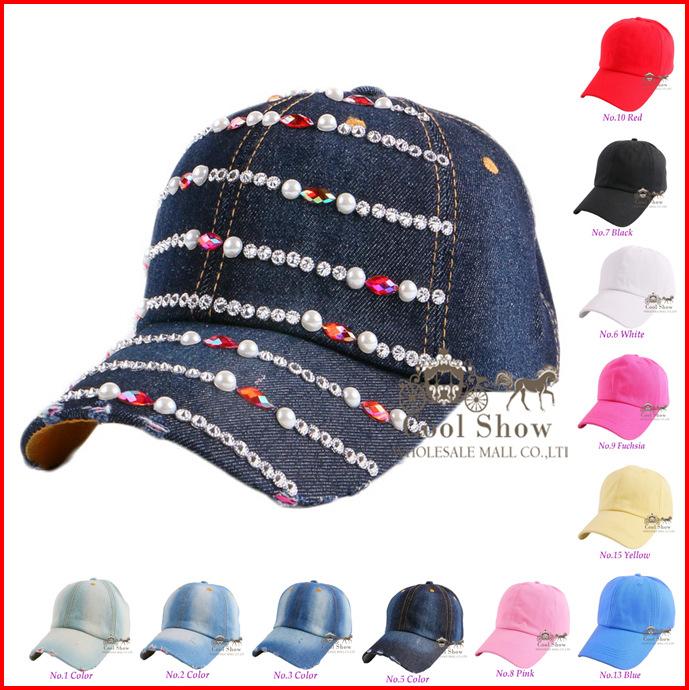 New popular mixed colorful rhinestone crystal decorate bead pretty black color denim baseball cap for women brand snapback hats(China (Mainland))
