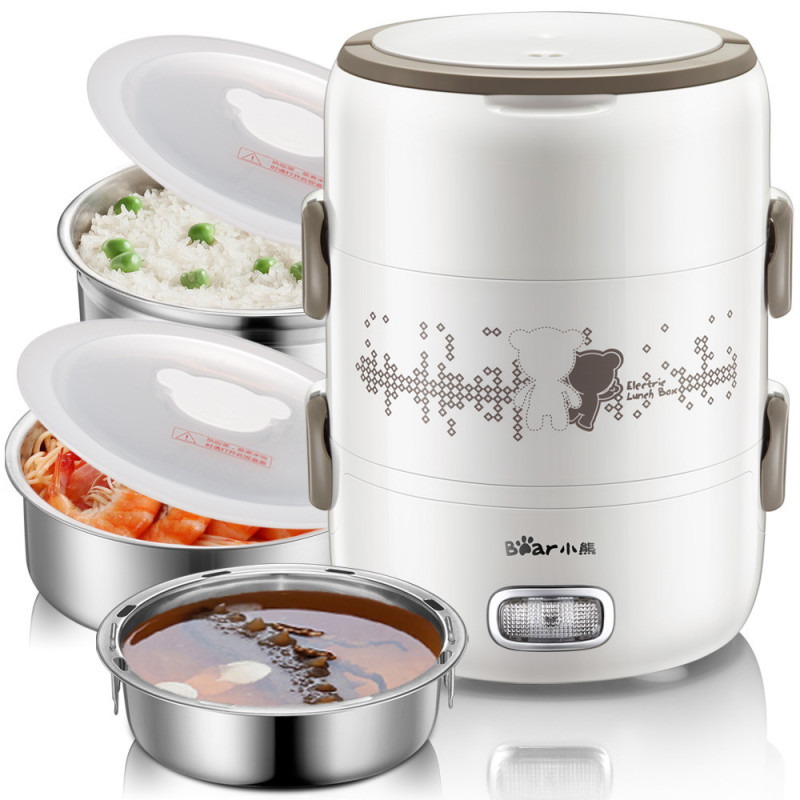 2L three liner 304 stainless steel two layers seal and fresh electric lunch box(China (Mainland))