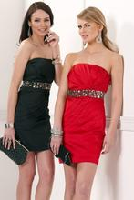 Beautiful Women Mini Beaded Cocktail Dresses 2014 Custom Made Strapless Neckline With Black Red Color