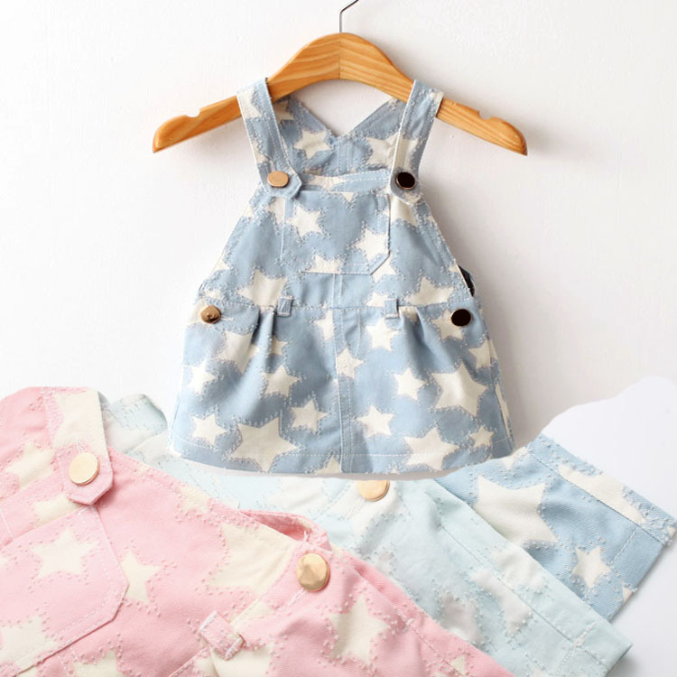 Baby Girls Overalls 2015 brand summer style baby girl clothing 3 color infant denim jeans jumpsuits baby girls dress(China (Mainland))