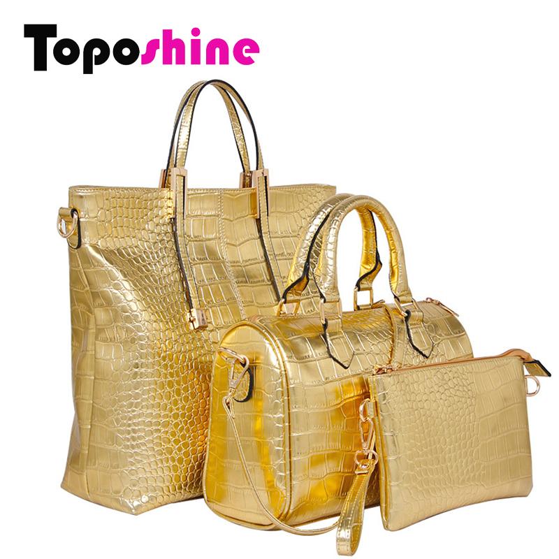 PU Leather Shoulder Bags Buy 3 Pcs Alligator Composite Bag Gold Black Girls Crossbody Bag+Girl Messenger Bag+Purse 3 Set 919-2(China (Mainland))