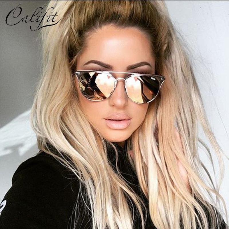 CALIFIT 2017 Rose Pink Round Copper Mirror Sunglasses Women UV400 Eyewear Luxury glasses retro Female Shades Oculos Lunette New(China (Mainland))