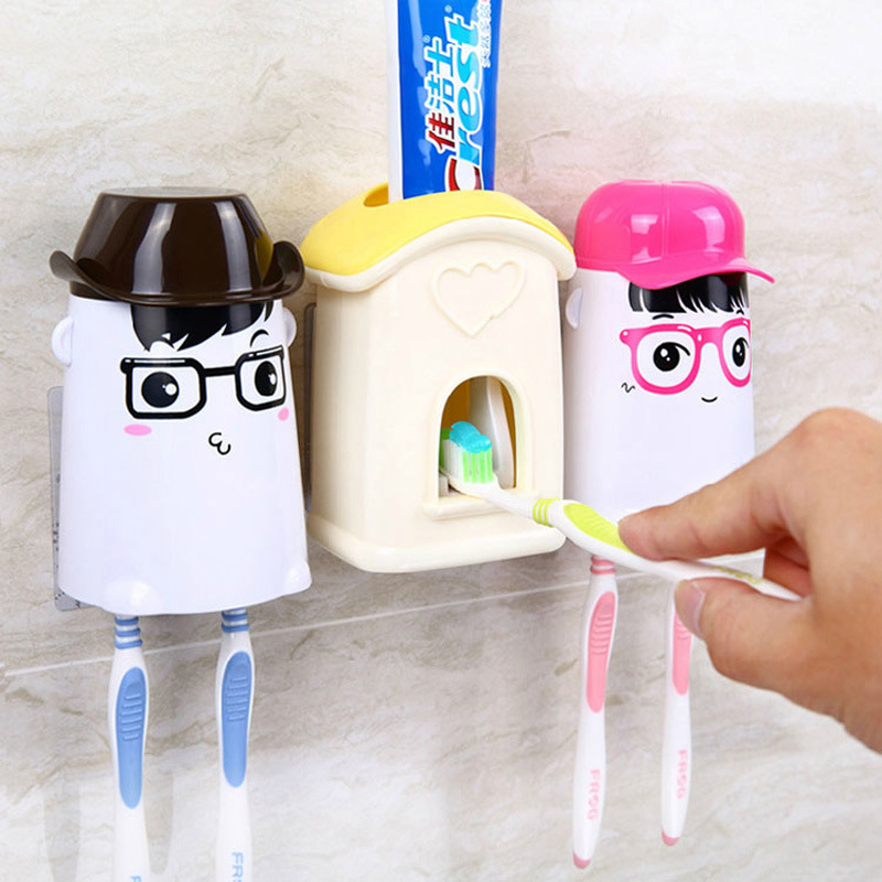 1 Pc Cartoon Automatic Toothpaste Dispenser Squeezer Wall Mounted Toothbrush Holder Rack Cup Toothbrush Holder Family Wash Set(China (Mainland))