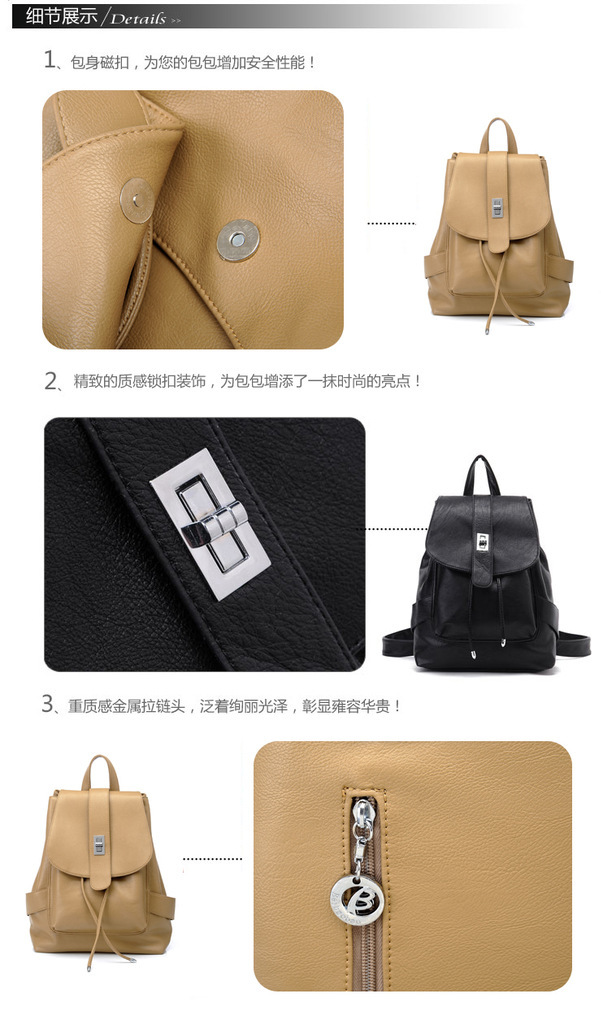 2015 Korea Fashion Women Preppy Style Travel Backpack Schoolbag