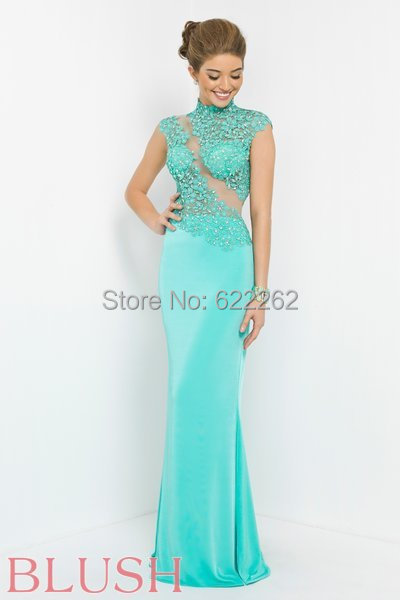 High Collar Applique Crystals Sequins Mermaid Prom Dresses Floor Length Sheer Hollow Back Satin Gowns Sleeveless - bride wedding dresses store