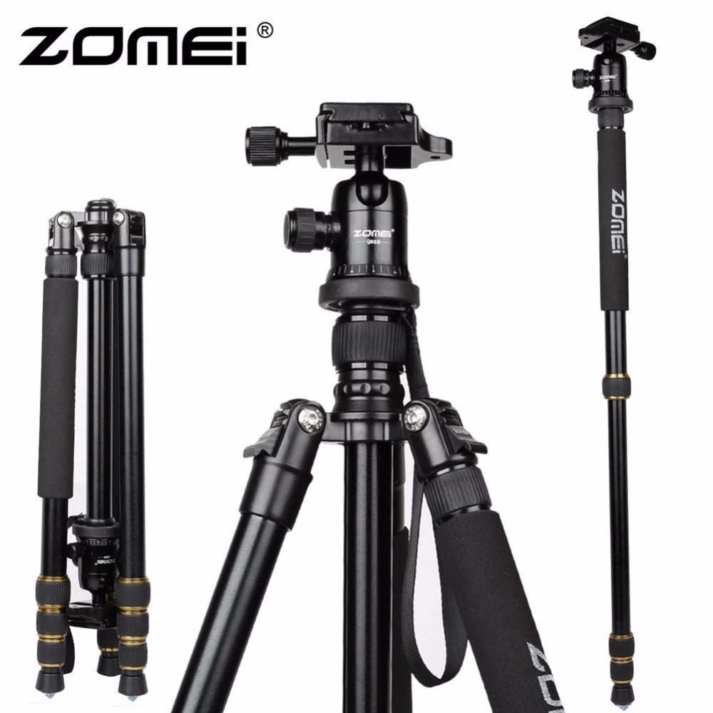 New Zomei Z688 Aluminum Professional Tripod Monopod For DSLR Camera With Ball Head / Portable Camera Stand / Better than Q666(China (Mainland))