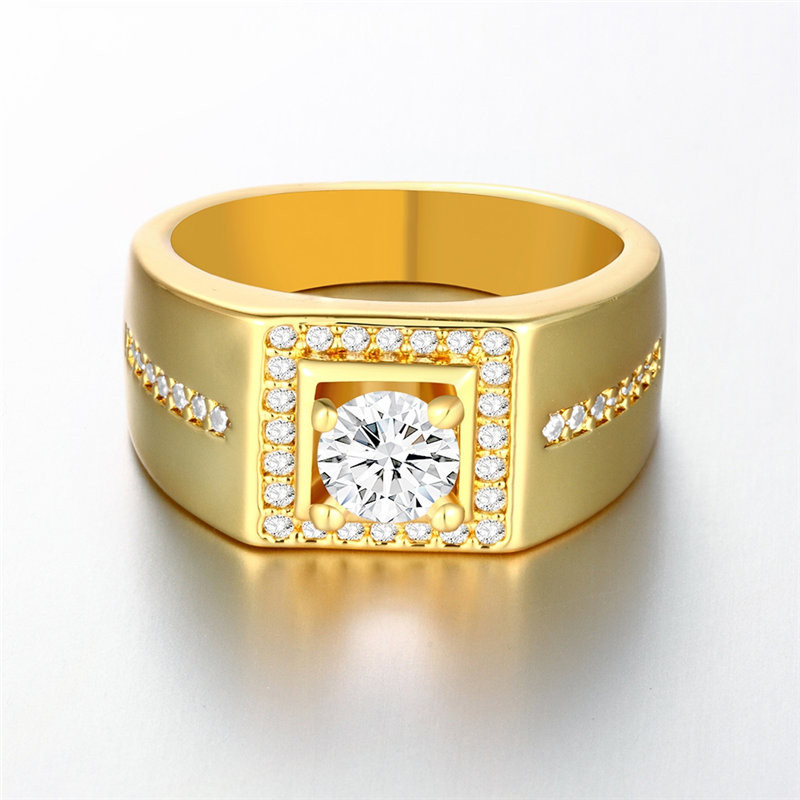 18K Real Gold Plated Men Ring With AAA CZ Diamond 18k ...
