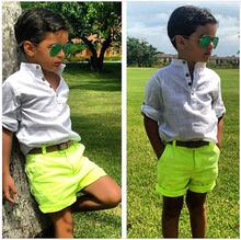 ST031, free shipping top quality summer children clothing set boy cool shirt+yellow pants 2pcs suits kids fashion clothes retail(China (Mainland))