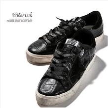 Golden Goose/GGDB 2016 spring casual shoes men&women Korea Vintage handmade old black lace up genuine leather shoes 35-46 l030