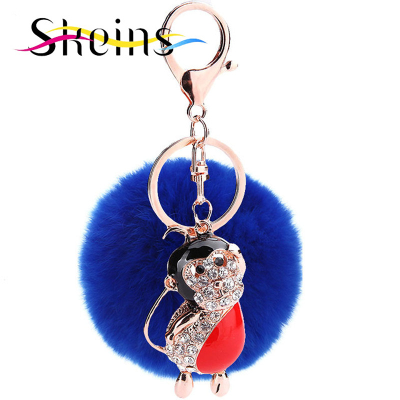 Skeins Jewelry 18K Gold Metal Plating Buttons 8cm Rabbit Fur Ball Pendant Accessories Monkey Tide Fashion Bag Keychain(China (Mainland))