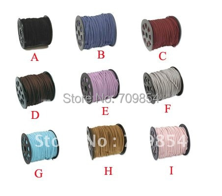 free shipping!! wholesale 900meter/lot 3mm genuine suede Leather Cord for necklace bracelet 9 color (you can choose the color )