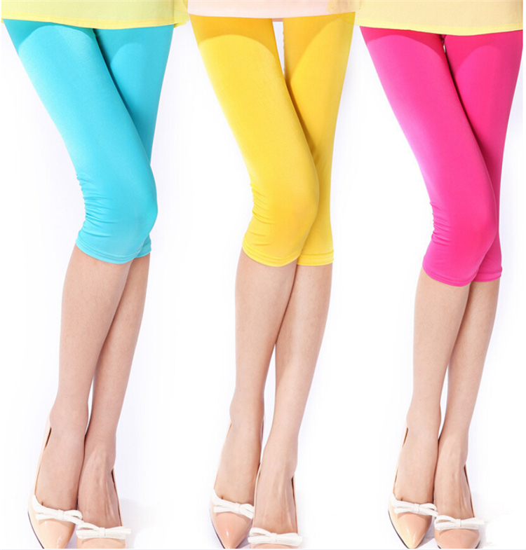 2015 Causal Brand High Elastic summer style thin Women Slim Sexy Leggings fitness High Elastic 19 Candy Color trousers(China (Mainland))