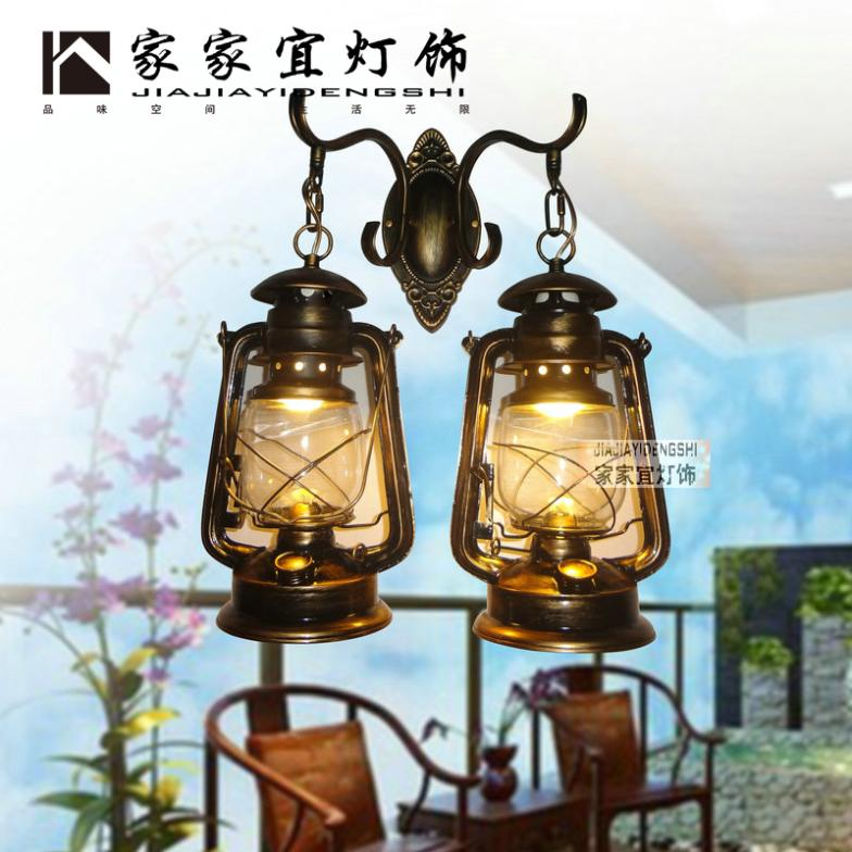 Nostalgic vintage old fashioned portable lantern balcony double slider kerosene outdoor wall lamps lights wall lamp