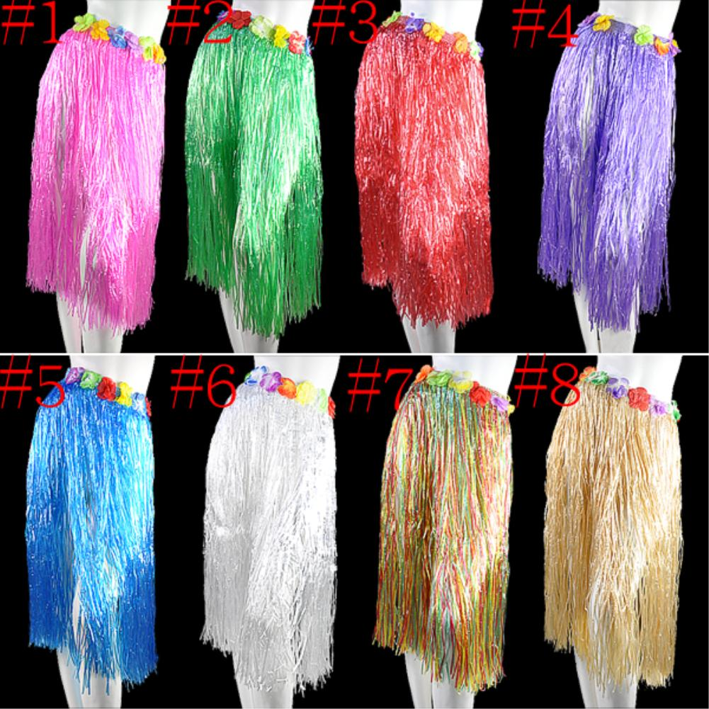 80/60cm Length Adult /kid Colorful Hawaiian Artificial Grass Skirt Hula Luau Fancy Dress party decoration event party supplies(China (Mainland))