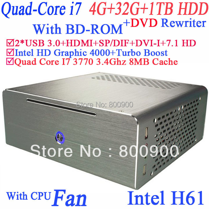 Remote desktop thin client mini server with i7 quad core 3770 3.4Ghz 8MB cache KIOSK DVD rewriter BD-ROM Intel HD Graphic 4000(China (Mainland))