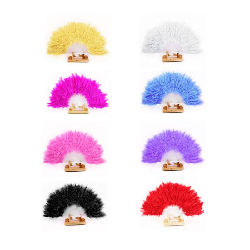 Taotown's 8 Colors Beautiful feather fan Square Dance goose feather folding fan Wedding Hand Fancy Dress Costume freeshipping(China (Mainland))
