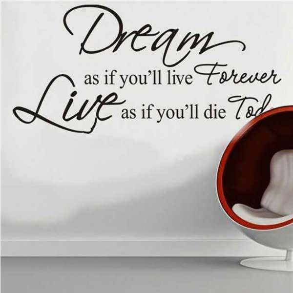 Fanwood Dream As If You Will Live Forever PVC Wall Sticker Wallpaper ZY8133(China (Mainland))