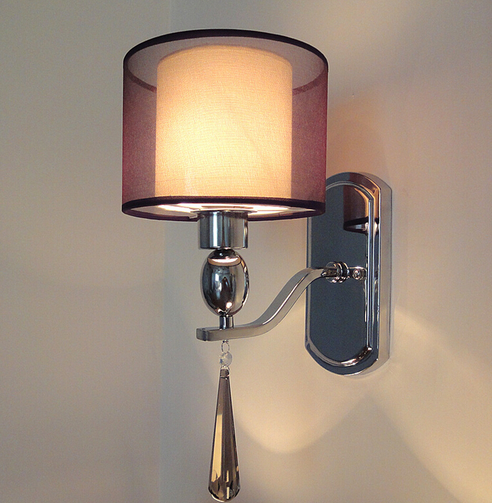 Modern crystal wall lamp fabric abajur sconce bedroom home for Wall light fixtures bedroom