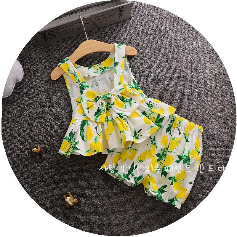 2016 Summer Children Girl Set Lemon Girl Bowknot Shirt Blouse + Shorts Kids Set Two Pieces ensemble fille Baby Girls Outfits(China (Mainland))