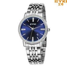 Eyki Brand Couple Tables Lovers Watch Fine Luxury Inlay Rhinestone Dial Steel Strap Quartz Watches Calendar Watch Ladies Watch