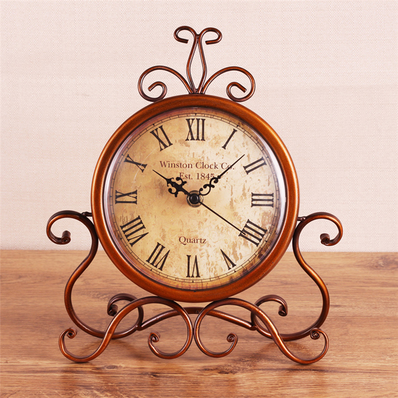Home Decor Wrought Iron Wall Decorations Clock Vintage European Style Household Products Accessories Table Clock Classic 702327(China (Mainland))