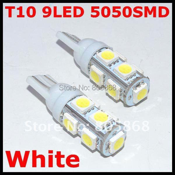 Wholesale 50pcs/lot T10 9smd 5050 Car light led 194 168 192 W5w Led Light Automobile Bulbs Lamp Wedge Interior