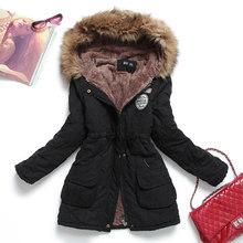 Новая зимняя Женская куртка средней длины, утепленная, плюс размер 4XL, верхняя одежда с капюшоном, стеганое пальто, тонкая парка, хлопковая с...(China)