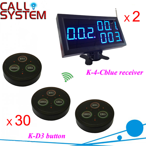 One set Waitress paging bell system 2 counter displays 30 table buzzer for customer use shipping free(China (Mainland))