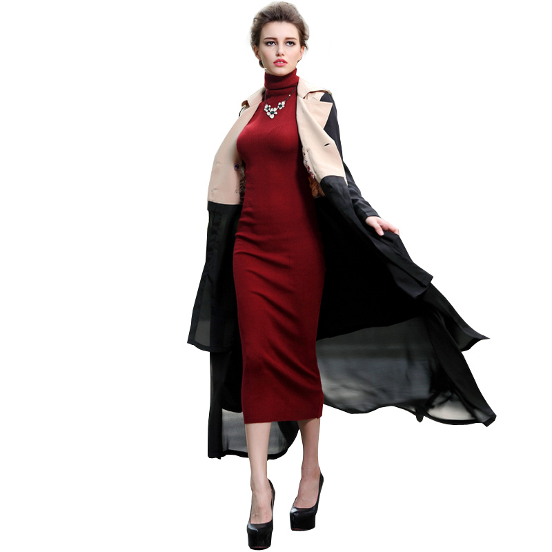 Muslim Clothing Islamic Coat Black Chiffon Patchwork Trench Coat For Women Plus Size Double Breasted Turn-Down Collar Overcoat