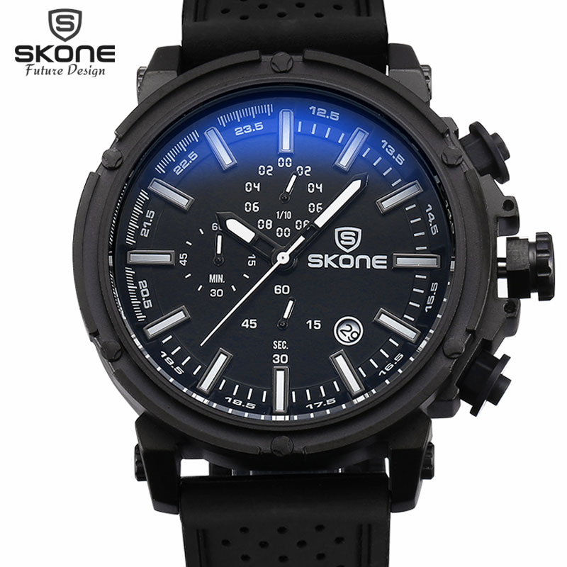 SKONE Brand 6 Hands 24 Hours Function Silicone Sport Watches Men Date Chronograph Quartz-watch Hours Casual Relogio Masculino(China (Mainland))