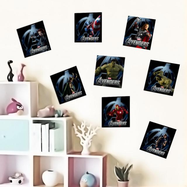 Супер герой цифры мстители мультфильм виниловые обои наклейки для детская комната пвх стены надписи мальчики номер декор